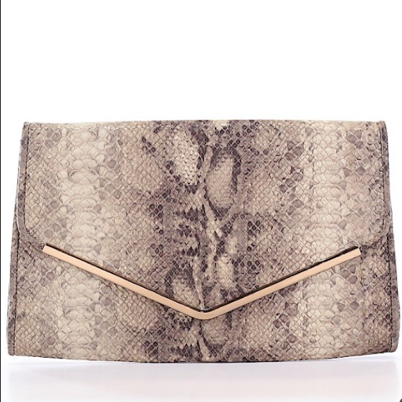 Handbags - Snake print clutch with gold chain for crossbody
